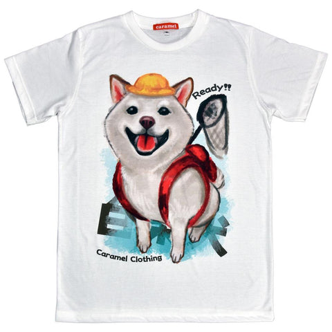 White Shiba Explorer Unisex Graphic T-shirt