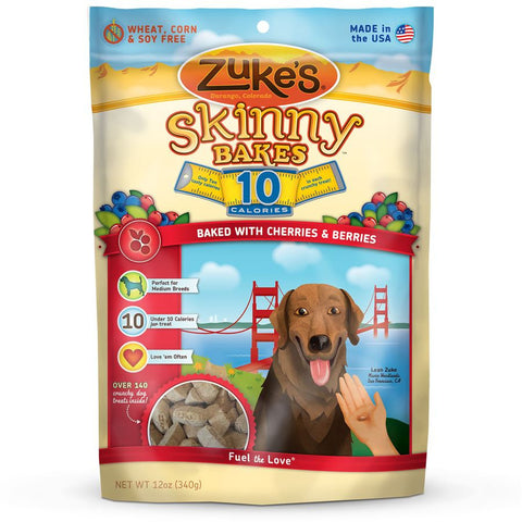 Zuke's: Skinny Bakes Mini 10-calories Crunch Dog Treats (Cherries & Berries) 12oz | Treats - 1