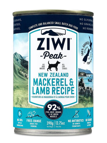 Ziwi Peak Moist Mackerel & Lamb Canned Dog Food 390g