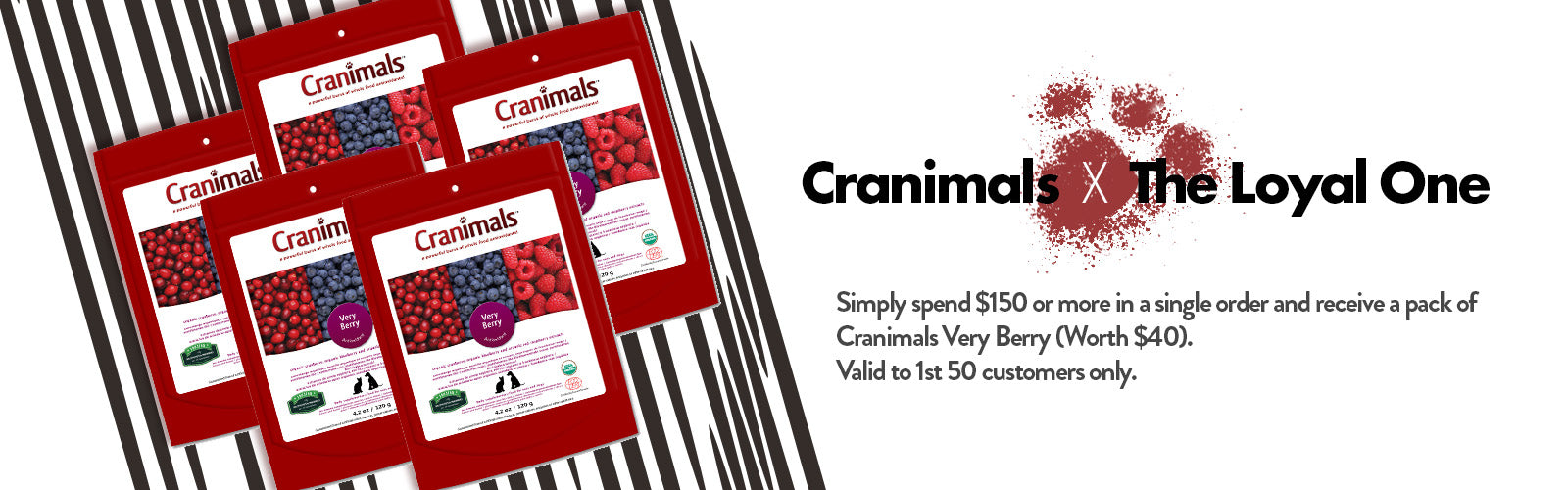 Spend $188 and receive a free pack of Cranimals worth $40