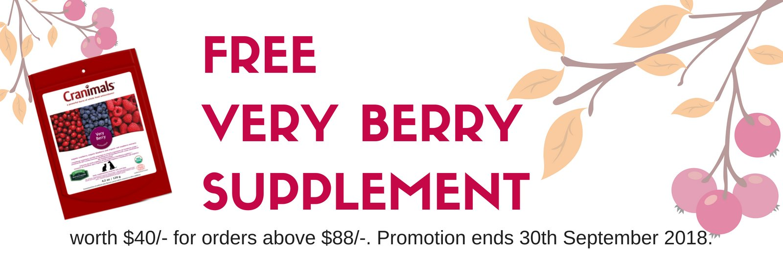 Spend $88 and Receive a Free Pack Of Cranimals Very Berry
