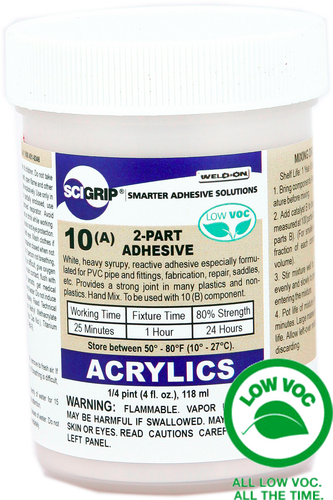 SCIGRIP IPS Weld-On #10 High Strength Structural 2-Part Adhesive for Plastics (ABS, PVC, Acrylic, Lexan, etc) (Bonds well to steel and metals)