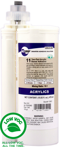 SCIGRIP IPS Weld-On #11 - Low VOC 2-Part High Strength Reactive Adhesive