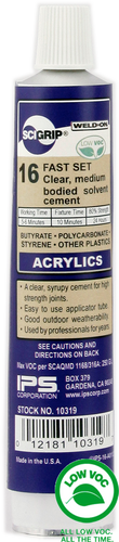 SCIGRIP IPS Weld-On #16 10319 Acrylic Cement, Low-VOC, Medium bodied