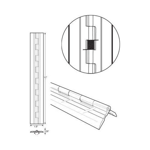 "Acrylic Spring-Loaded Plastic Hinge 1-1/2"" X 12"" Long"