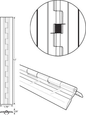 "Acrylic Spring-Loaded Plastic Hinge 1-3/4"" X 12"" Long - Plastic-Craft Products"
