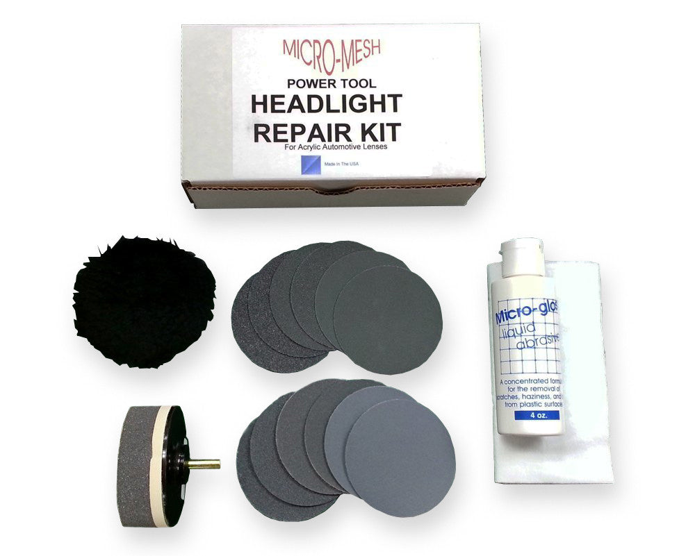 Micro-Mesh Acrylic / Plexiglass Plastic Car Headlight Lens Restore Kit with Buffing Pad / Drill Attachment