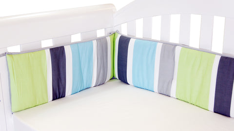 Babyhood - Summer Stripe Bumper (Blue White Grey Green)