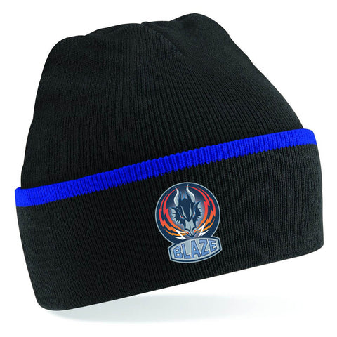 Blaze Royal Blue and Black Beanie Hat