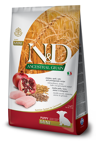 Farmina - N&D Ancestral Grain Chicken & Pomegranate Puppy Mini - Dry Dog Food - Various Sizes