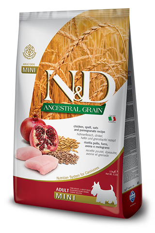 Farmina - N&D Ancestral Grain Chicken & Pomegranate Adult Mini - Dry Dog Food - Various Sizes
