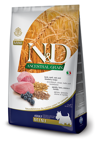 Farmina - N&D Ancestral Grain Lamb & Blueberry Adult Mini - Dry Dog Food - Various Sizes