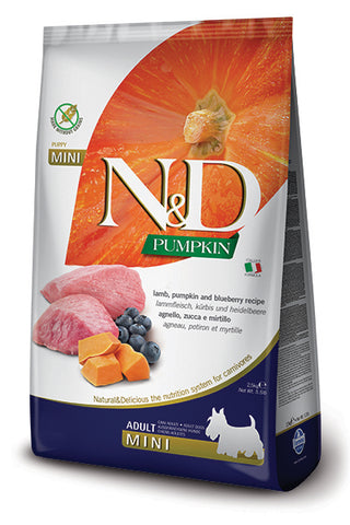 Farmina - N&D Pumpkin, Lamb & Blueberry Adult Mini - Dry Dog Food - Various Sizes