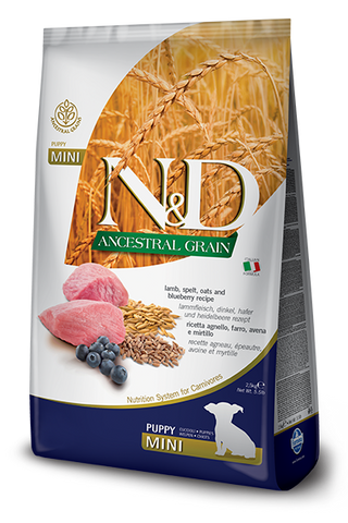 Farmina - N&D Ancestral Grain Lamb & Blueberry Puppy Mini - Dry Dog Food - 5.5lb