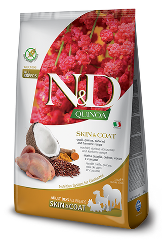 Farmina - N&D Quinoa Functional Skin & Coat Quail - Dry Dog Food - Various Sizes