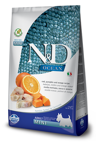 Farmina - N&D Ocean Cod, Pumpkin & Orange Adult Mini - Dry Dog Food - Various Sizes