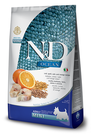 Farmina - N&D Ocean Cod, Spelt, Oats & Orange Adult Mini - Dry Dog Food - 5.5lb