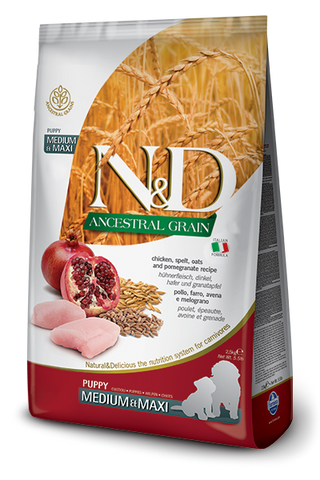 Farmina - N&D Ancestral Grain Chicken & Pomegranate Puppy Medium & Maxi - Dry Dog Food - 5.5lb