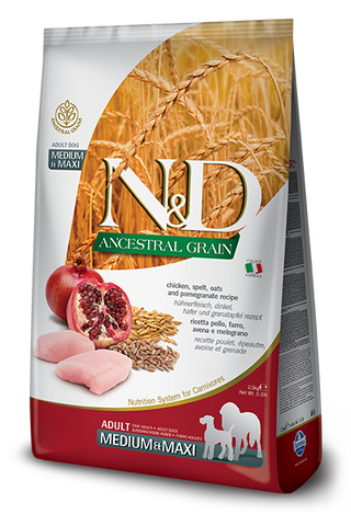 Farmina - N&D Ancestral Grain Chicken & Pomegranate Adult Medium & Maxi - Dry Dog Food - 26.5lb