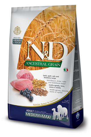 Farmina - N&D Ancestral Grain Lamb & Blueberry Adult Medium & Maxi - Dry Dog Food - 26.5lb