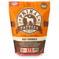 Primal - Beef Patties - Raw Dog Food - 6 lb (Local Tampa Bay Delivery Only)