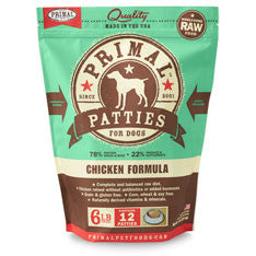 Primal - Chicken Patties - Raw Dog Food - 6 lb (Hillsborough County FL Delivery Only)