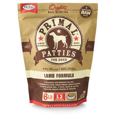 Primal - Lamb Patties - Raw Dog Food - 6 lb (Hillsborough County FL Delivery Only)