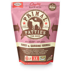 Primal - Turkey & Sardine Patties - Raw Dog Food - 6 lb (Hillsborough County FL Delivery Only)