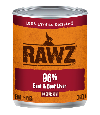 RAWZ - 96% Beef & Beef Liver - Wet Dog Food - 12.5 oz