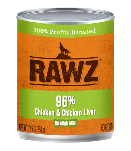 RAWZ - 96% Chicken & Chicken Liver - Wet Dog Food - 12.5 oz