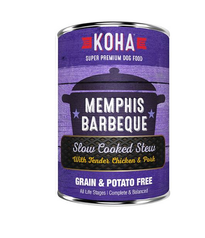 KOHA - Memphis Barbeque with Tender Chicken & Pork Slow Cooked Stew - Wet Dog Food - 12.7 oz