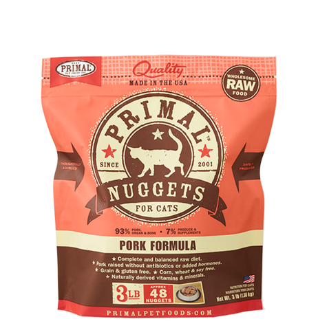 Primal - Pork Nuggets - Raw Cat Food - 3 lb (Hillsborough County FL Delivery Only)