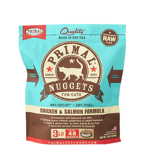 Primal - Chicken & Salmon Nuggets - Raw Cat Food - 3 lb (Hillsborough County FL Delivery Only)