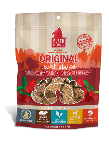 Plato Pet Treats - Real Strips Turkey with Cranberry Treat