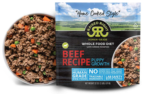 Raised Right - Beef Puppy Growth Recipe - Gently Cooked Dog Food - 2 lb (Hillsborough County FL Delivery Only)