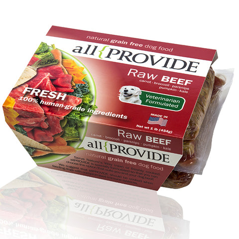 Allprovide - Beef Recipe - Raw Dog Food - 2 lb (Local Tampa Bay Delivery Only)