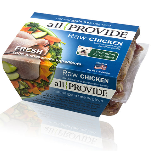Allprovide - Chicken Recipe - Raw Dog Food - 2 lb (Local Tampa Bay Delivery Only)