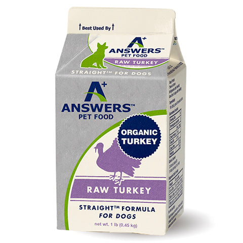 Answers - Straight Turkey - Frozen Raw Dog Food - Various Sizes (Hillsborough County FL Delivery Only)