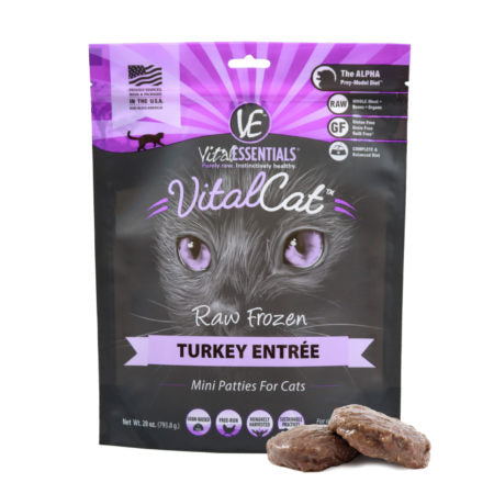 Vital Essentials Cat - Turkey Patties - Raw Cat Food - 28oz