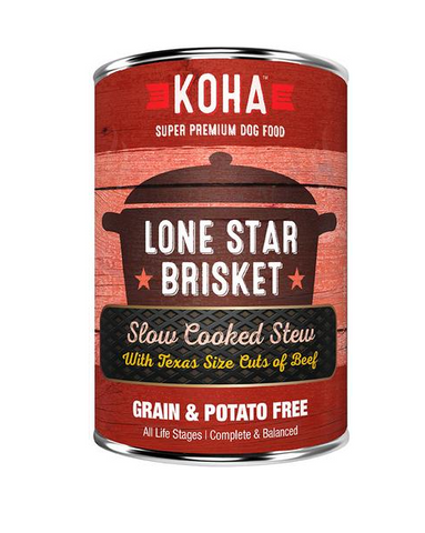 KOHA - Lone Star Brisket with Texas Size Cuts of Beef Slow Cooked Stew - Wet Dog Food - 12.7 oz