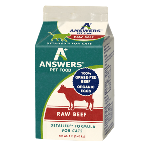 Answers - Detailed Beef - Raw Cat Food - 1 lb (Hillsborough County FL Delivery Only)
