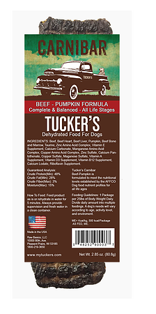 Tucker's - Beef-Pumpkin Carnibar - Dehydrated Dog Food - 2.85 oz