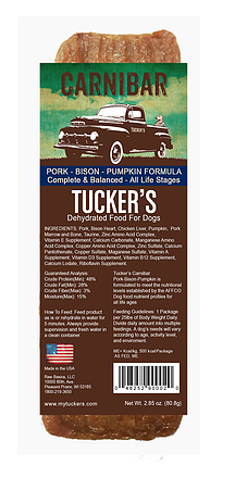 Tucker's - Pork-Bison-Pumpkin Carnibar - Dehydrated Dog Food - 2.85 oz