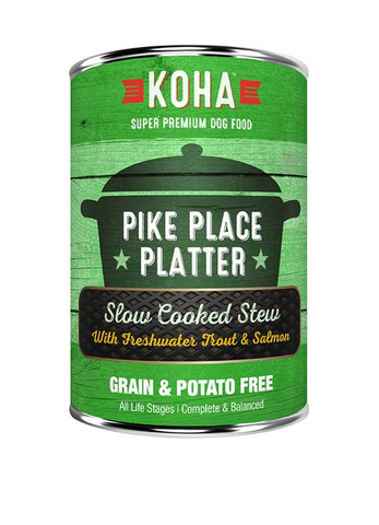 KOHA - Pike Place Platter with Freshwater Trout & Salmon Slow Cooked Stew - Wet Dog Food - 12.7 oz