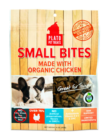 Plato Pet Treats - Small Bites Organic Chicken Treat