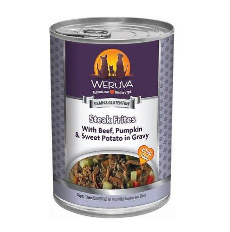 Weruva - Steak Frites with Beef, Pumpkin, & Sweet Potatoes in Gravy - Wet Dog Food - 14 oz