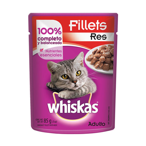 Alimento Whiskas Adulto Sobre Filetes Res 85g