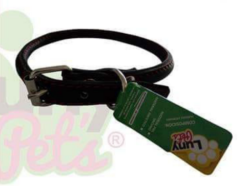 Collar Luny Pet's Redondo Piel Color Negro