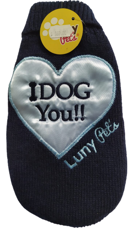 Suéter Luny Pet's I Dog You Azul