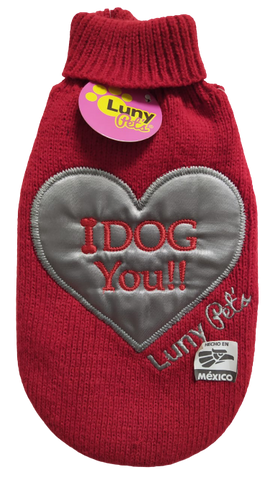 Suéter Luny Pet's I Dog You Rojo
